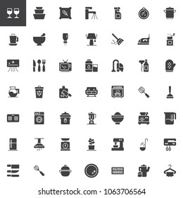 Homeware vector icons set, modern solid symbol collection, filled style pictogram pack. Signs, logo illustration. Set includes icons as wine glass, container, pillow, tap, sprayer, air conditioner