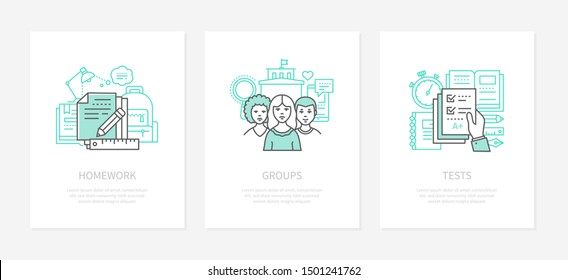 Homework assignment, task concept vector icons set