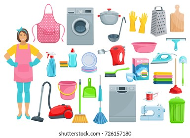 Homework flat icons for house washing, cleaning and needlework. Vector set of woman with vacuum cleaner, dishwasher machine, kitchenware grater, saucepan or sponge, mopping brush and soap detergent.