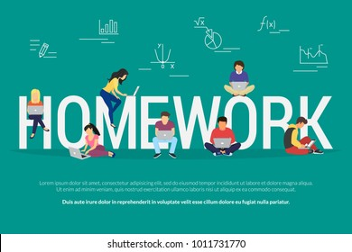 Homework and learning concept vector illustration of sudents using laptop and smartphone mobile app for distance studying and education. Flat design of guys and young women sitting near big letters