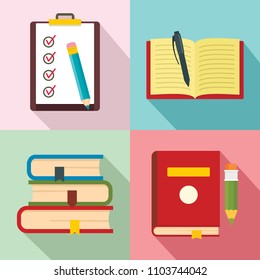 Homework study school icons set. Flat illustration of 4 homework study school vector icons for web