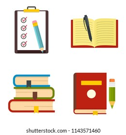 Homework study school icons set. Flat illustration of 4 homework study school vector icons isolated on white