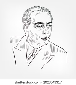 Homi Jehangir Bhabha famous Indian nuclear physicist, founding director, and professor of physics vector sketch portrait