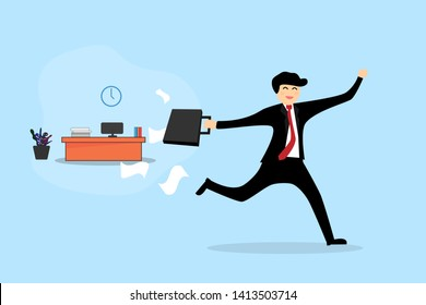 Homing and out of office Concept. Businessman ruining out worktable. Vector flat design.