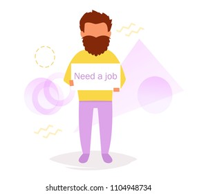Homless man Need a job  Vector. Cartoon. Isolated art