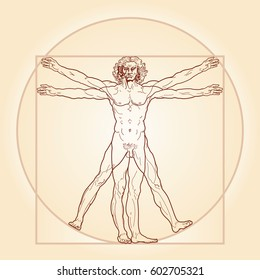 HOMO VITRUVIANO.  The Vitruvian man / Leonardo's man.  Detailed drawing on basis of artwork masterpiece by Leonardo da Vinci, performed by him c.1490 by ancient manuscript of Roman master Vitruvius.