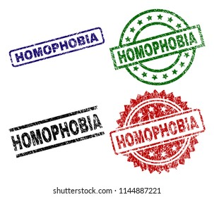 HOMOPHOBIA seal prints with distress style. Black, green,red,blue vector rubber prints of HOMOPHOBIA tag with grunge style. Rubber seals with round, rectangle, rosette shapes.