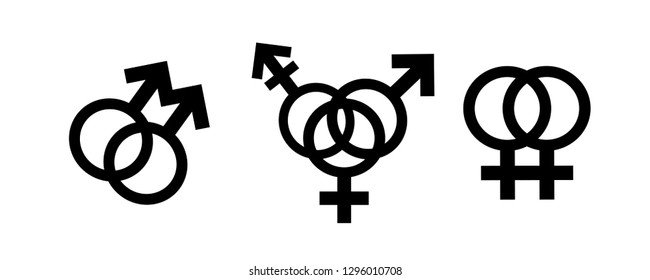 Homosexual, bisexual transgender, transsexual symbol. Vector silhouette on white background. Illustration set of lesbian and gay icon.
