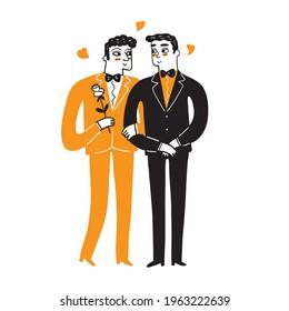 Homosexual couples celebrating love, proposal, walking, Gay valentines day, wedding. Lgbt family, pride, relations, romantic boyfriend, transgender, hug.