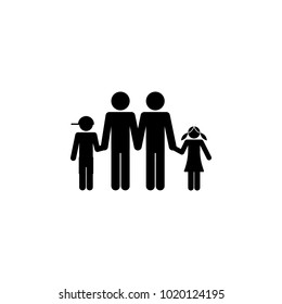 homosexual family with children holding hands icon. Element for mobile concept and web apps. Icon for website design and development, app development. Premium icon on white background