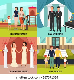 Homosexual family concept icons set with gay and lesbian wedding symbols flat isolated vector illustration