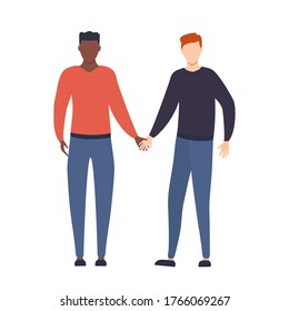 Homosexual LGBT gays. Two young multicultural boys holding hands together in love. Homosexual relationship vector illustration isolated on white.
