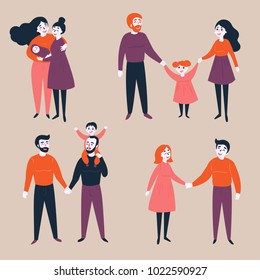 Homosexual lgbt non-traditional and traditional families. Different couples, heterosexual, gay and lesbian. Equality in rights illustration.