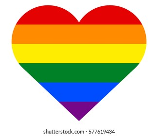 Homosexual love concept. Heart with six rainbow stripes. Gay pride flag and LGBT pride flag, symbol of lesbian, gay, bisexual, transgender social movements.  Homosexual love emblem.