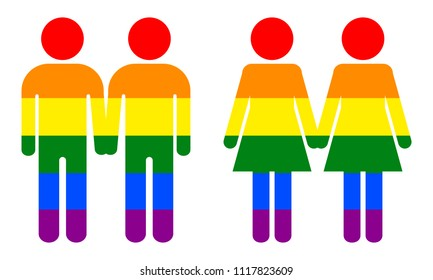 Homosexual symbols. Two men and two women hold hands. Rainbow striped coloring in gay pride flag. Concept of same-sex  homosexual relationships of bisexual, gay and lesbian.