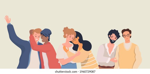 Homosexuality, romantic partners vector flat illustration. Happy smiling gay and lesbian couples hugging and looking at each other. LGBT movement, homosexual men and women falling in love.