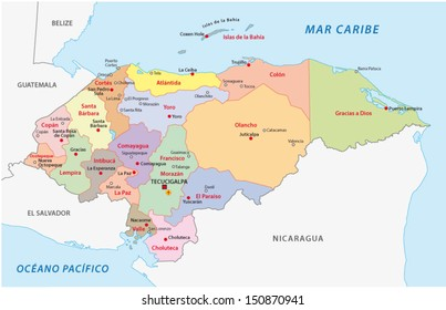 honduras administrative map