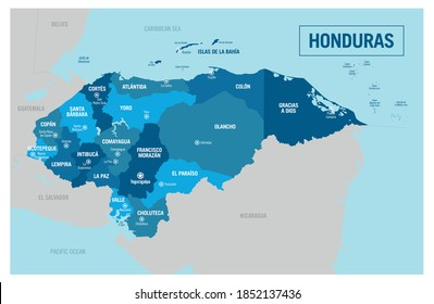 Honduras country political map. Detailed illustration with isolated regions, provinces, departments, states and cities easy to ungroup.