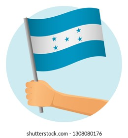 Honduras flag in hand. Patriotic background. National flag of Honduras vector illustration