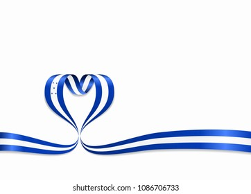 Honduras flag heart-shaped wavy ribbon. Vector illustration.