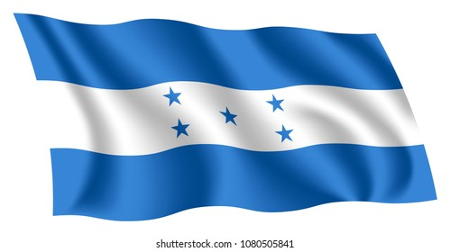 Honduras flag. Isolated national flag of Honduras. Waving flag of the Republic of Honduras. Fluttering textile honduran flag.