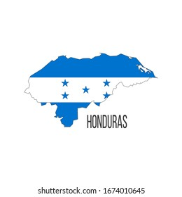 Honduras flag map. The flag of the country in the form of borders. Stock vector illustration isolated on white background.