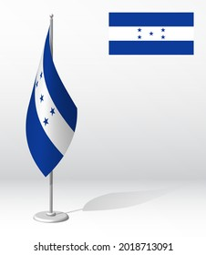 HONDURAS flag on flagpole for registration of solemn event, meeting foreign guests. National independence day of HONDURAS. Realistic 3D vector on white
