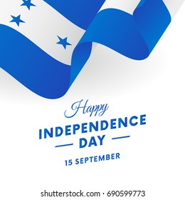 Honduras Independence Day. 15 September. Waving flag. Vector illustration.