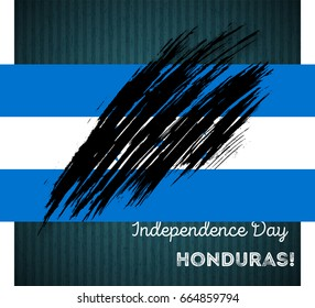 Honduras Independence Day Patriotic Design. Expressive Brush Stroke in National Flag Colors on dark striped background. Happy Independence Day Honduras Vector Greeting Card.