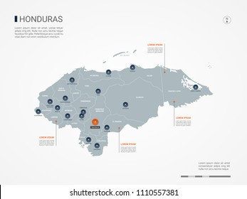 Honduras map with borders, cities, capital Tegucigalpa and administrative divisions. Infographic vector map. Editable layers clearly labeled.