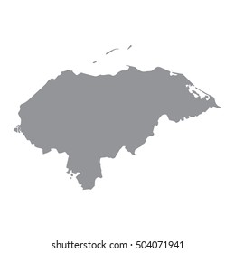 Honduras map in gray on a white background