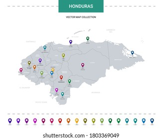 Honduras map with location pointer marks. Infographic vector template, isolated on white background.