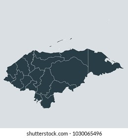 Honduras map on gray background vector, Honduras Map Outline Shape Gray on White Vector Illustration, High detailed Gray illustration map Honduras.