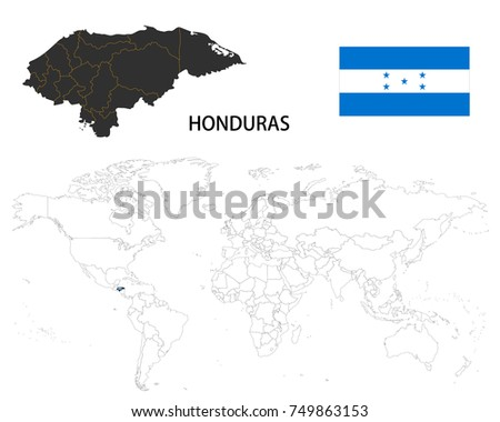 Honduras Map On World Map Flag Stock Vector Royalty Free 749863153