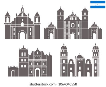 Honduras set. Isolated Honduras architecture on white background