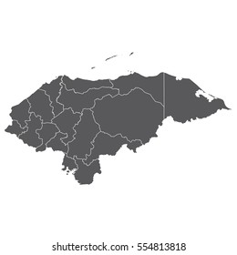 Honduras vector map isolated on white background. High detailed silhouette illustration.