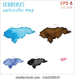 Honduras watercolor country map. Handpainted watercolor Honduras map set. Vector illustration.