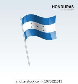 Honduras waving flag isolated on gray background