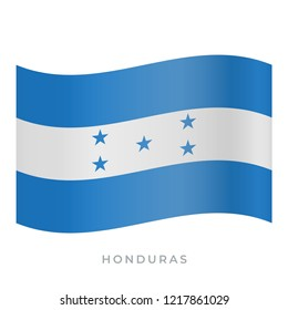 Honduras waving flag vector icon. National symbol of Honduras. Vector illustration isolated on white.