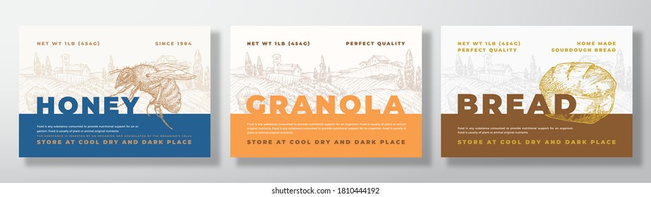 Hone, Granola and Bread Food Label Templates Set. Abstract Vector Packaging Design Layouts Bundle. Modern Typography Banners with Hand Drawn Rural Landscape Background. Isolated.