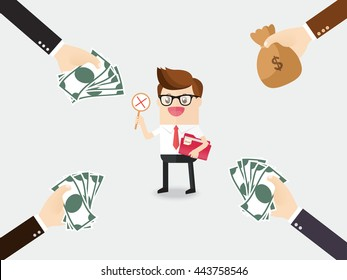 honest businessman or employee holding secret company data folder with hand of opponent company holding cash