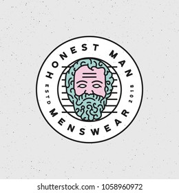 honest man clothing company label. menswear textile production emblem, badge, design elements, logotype template. vector illustration