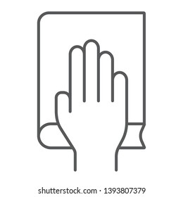 Honestly thin line icon, truth and trust, palm on book sign, vector graphics, a linear pattern on a white background, eps 10.
