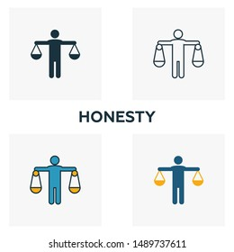 Honesty icon set. Four elements in diferent styles from business ethics icons collection. Creative honesty icons filled, outline, colored and flat symbols.