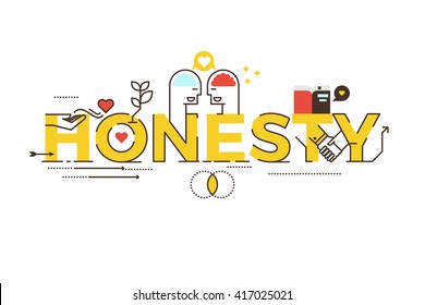 Honesty word lettering typography design illustration with line icons and ornaments in yellow theme