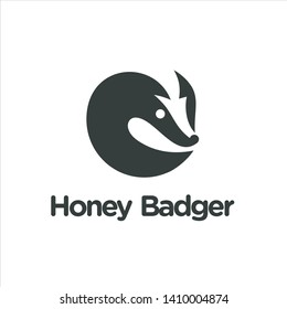 honey badger logo concept negative space