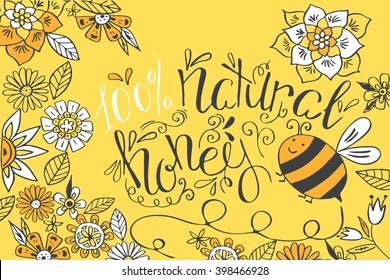 Honey banner with hand drawn sketch illustrations.Honey card with flowers and bee.Honey lettering. Stock vector