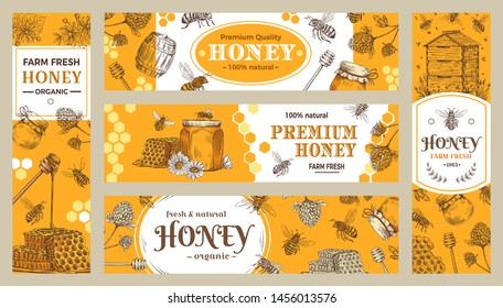 Honey banner. Healthy sweets, natural bees honey pot and bee farm products banners. Bees wax or honey jar sticker, beekeeper eco gourmet food advertisment sale label or brochure vector collection