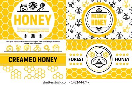 Honey banner set. Outline set of honey vector banner for web design