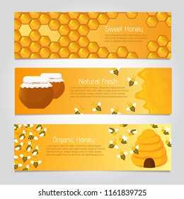 Honey banners. Cute cartoon honeybees with beehive. Vector set of honeybee poster, natural food and honeycomb illustration